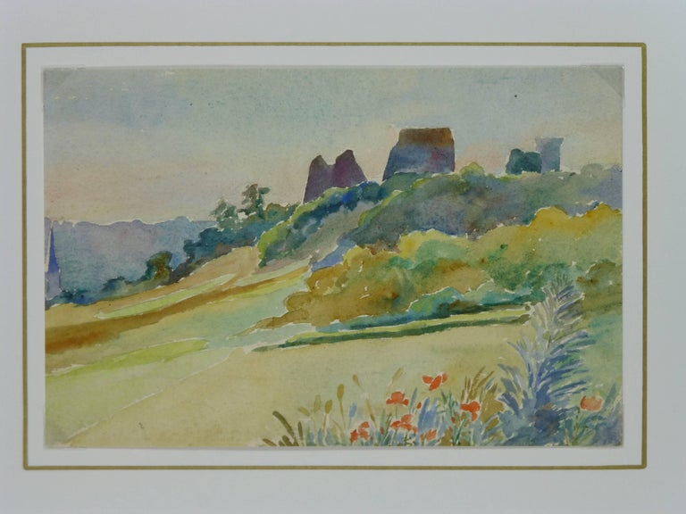Watercolor Landscape - Chateau de la Madeleine - Chevreuse, France - Beige Landscape Art by Unknown