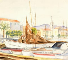 French Watercolor Harbor Landscape - Mediterranean Wharf with Sailboats