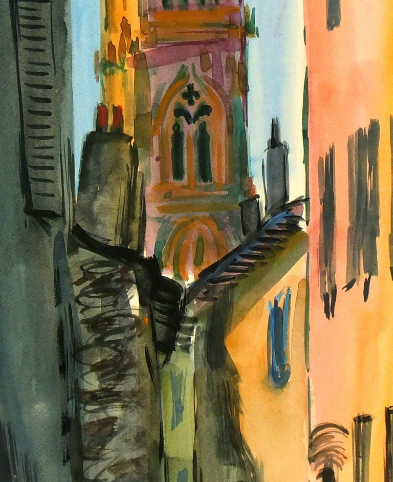 Landscape - Gouache City Cathedral - Art by Unknown