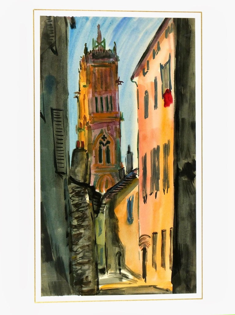 Masterful watercolor of a cathedral's spire seen through ancient streets, c.1960. Displayed on a white mat with a gold border and fits a standard-size frame. Archival plastic sleeve and Certificate of Authenticity included. Artwork, 20.75