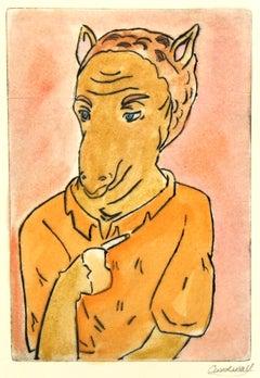 Etching - Smoking Hoofed Animal, Pastel Watercolor Acrylic Anthropomorphic Camel