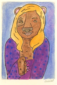 Etching - Lady Animal, Pastel Watercolor and Acrylic Anthropomorphic Dog