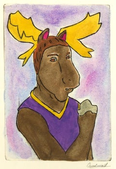 Etching - Manly Moose, Pastel Watercolor and Acrylic Anthropomorphic Moose