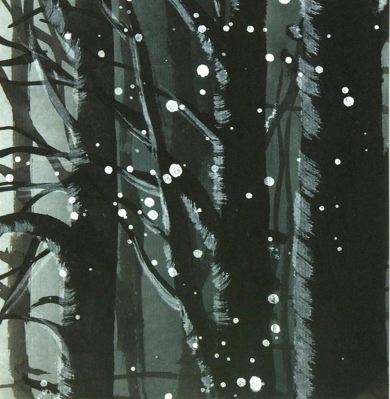 Landscape Gouache - Winter Forest Snow - Black Landscape Art by Unknown