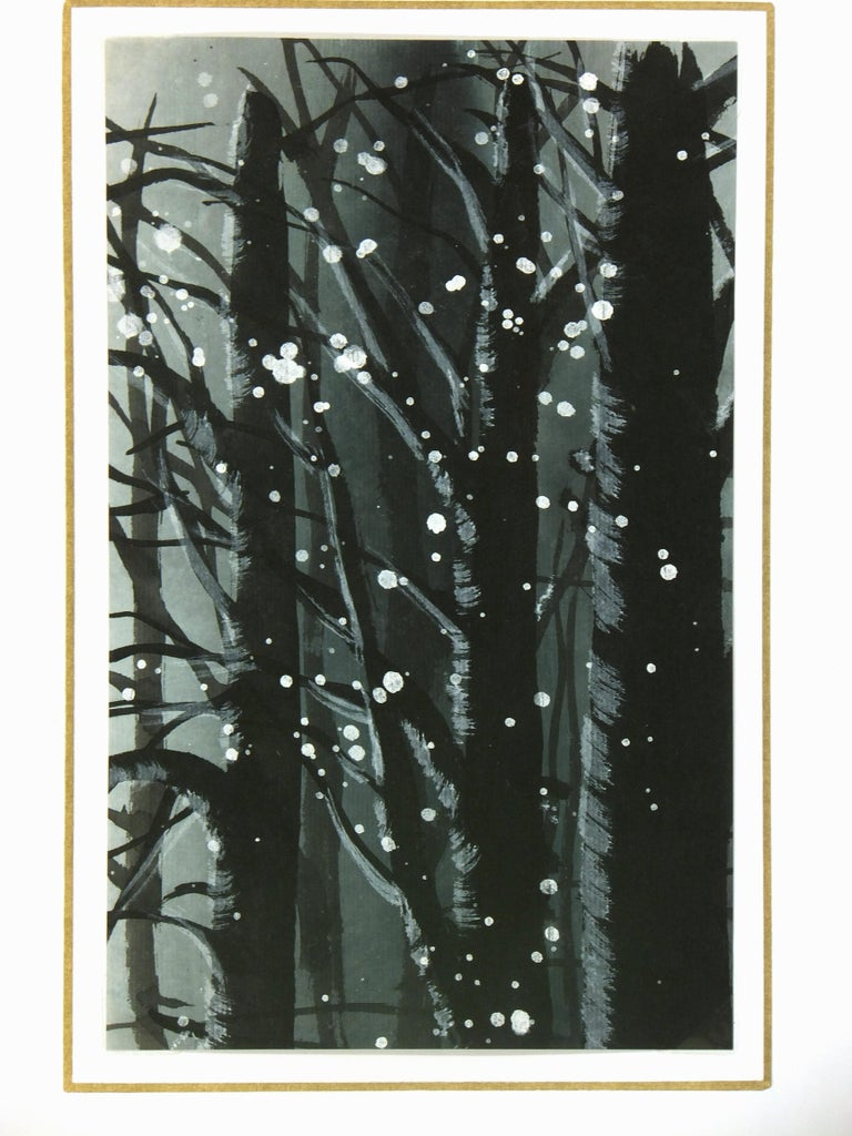 Ambience-setting gouache of snow falling over speckled tree tops, circa 1960. D  isplayed on a white mat with a gold border and fits a standard-size frame. Archival plastic sleeve and Certificate of Authenticity included. Artwork, 8.5