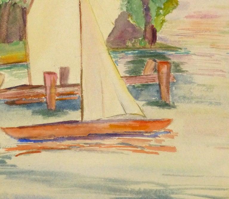 Lakeside Watercolor - Sailboats on the Lake - Beige Landscape Art by Erika Schob