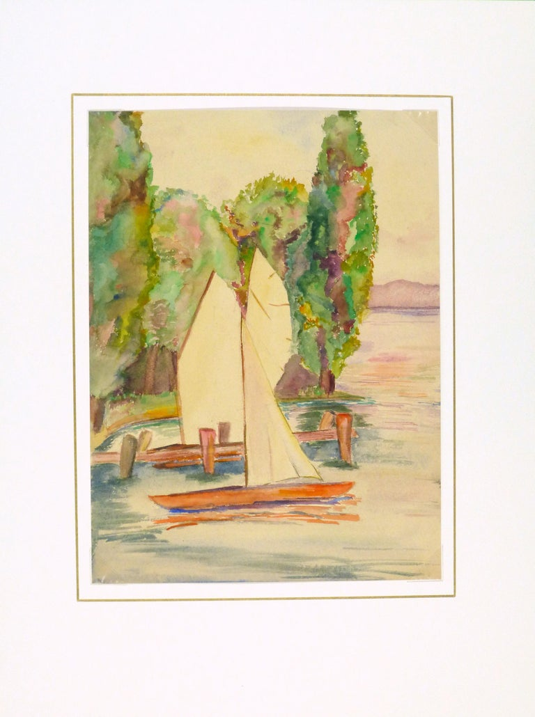 Classic lakeside watercolor of a small sailboats docked on a late afternoon by artist Erika Schob, 1941.   Displayed on a white mat with a gold border and fits a standard-size frame. Archival plastic sleeve and Certificate of Authenticity included.