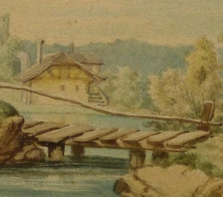Watercolor - Tudor Style Cottage by The Lake - Brown Landscape Art by Unknown