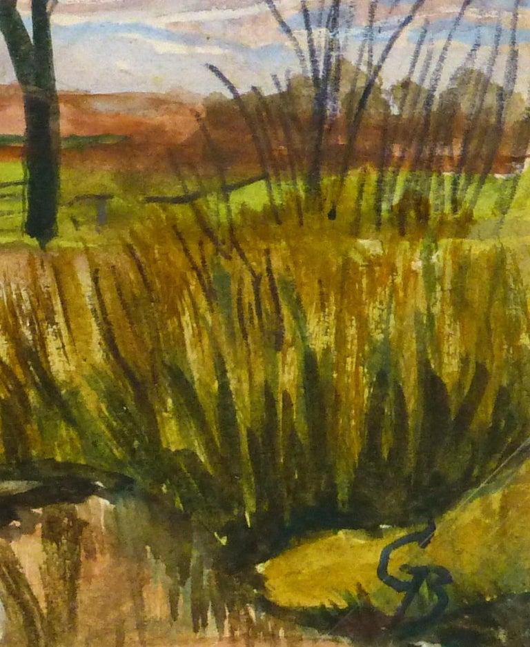 English Countryside Landscape - Bridge at Dusk - Art by G. Buckthorp