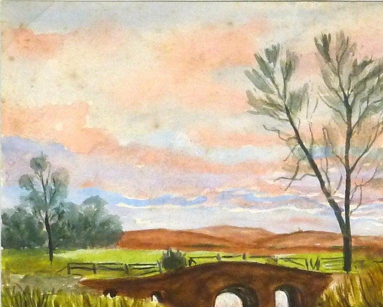 English Countryside Landscape - Bridge at Dusk - Beige Landscape Art by G. Buckthorp