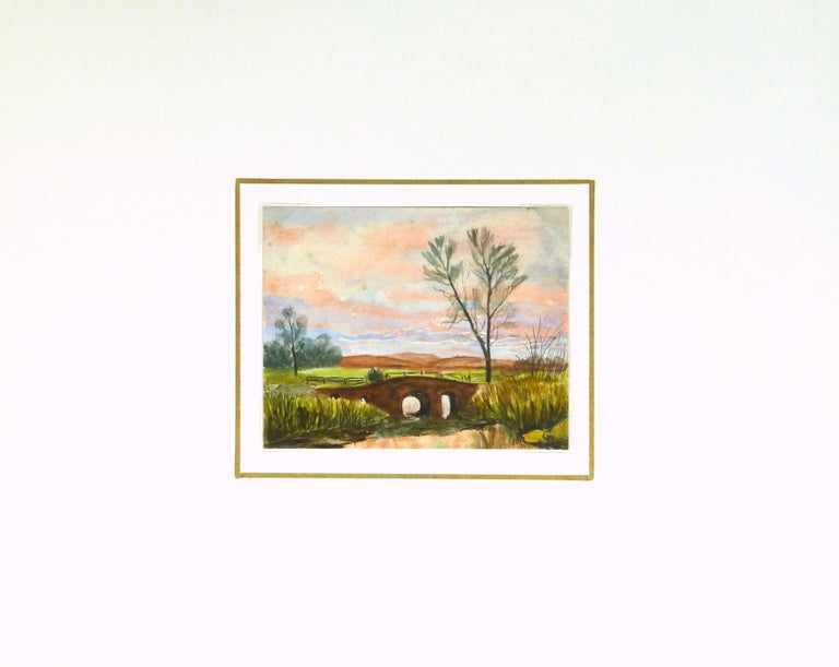Watercolor of a bridge landscape under a glowing evening sky by artist