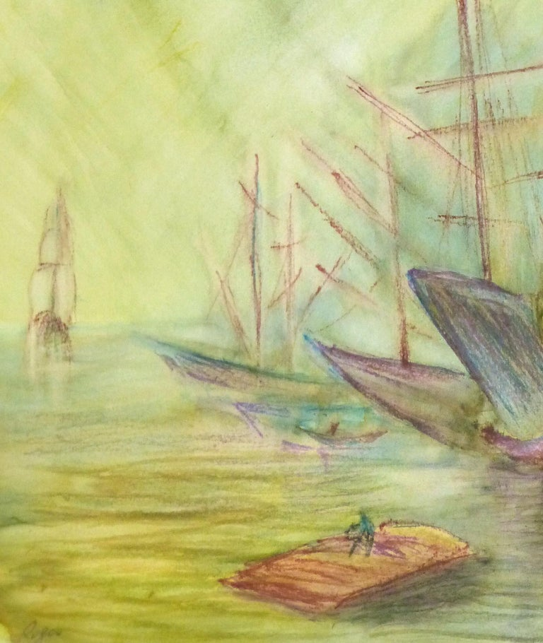 Abstract Watercolor - Painting of Ships - Art by Unknown