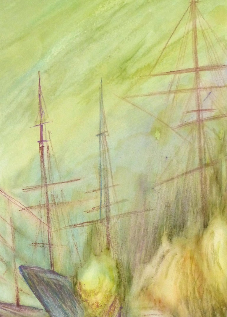 Abstract Watercolor - Painting of Ships - Beige Landscape Art by Unknown