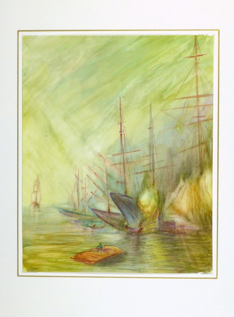 French abstract watercolor painting of tall ships with hues of green, circa 1960. Signed lower left.   Displayed on a white mat with a gold border. Archival plastic sleeve and Certificate of Authenticity included. Artwork,  17.25