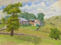 English Watercolor Landscape - Countryside Scene
