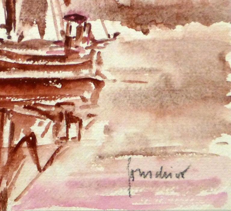 French Seascape - Sailing Vessel in Crimson Tide - Art by Unknown