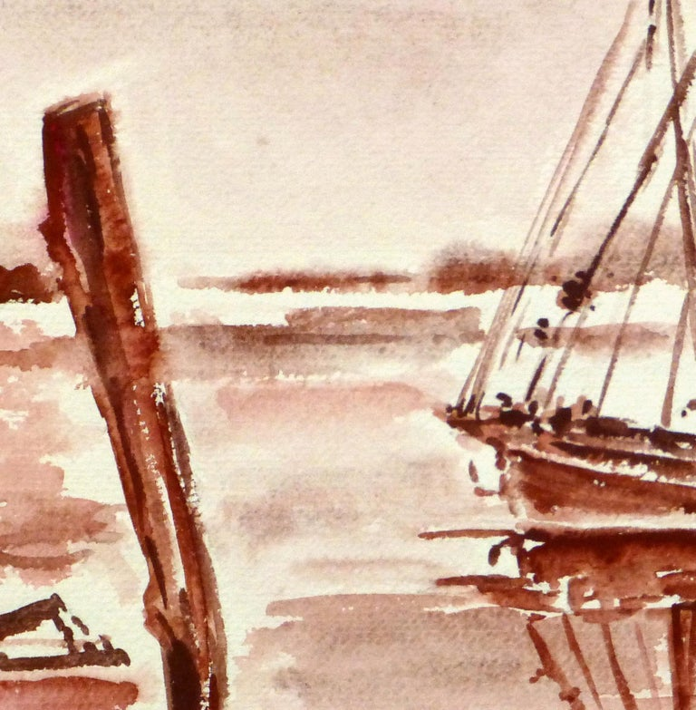 French Seascape - Sailing Vessel in Crimson Tide - Beige Landscape Art by Unknown