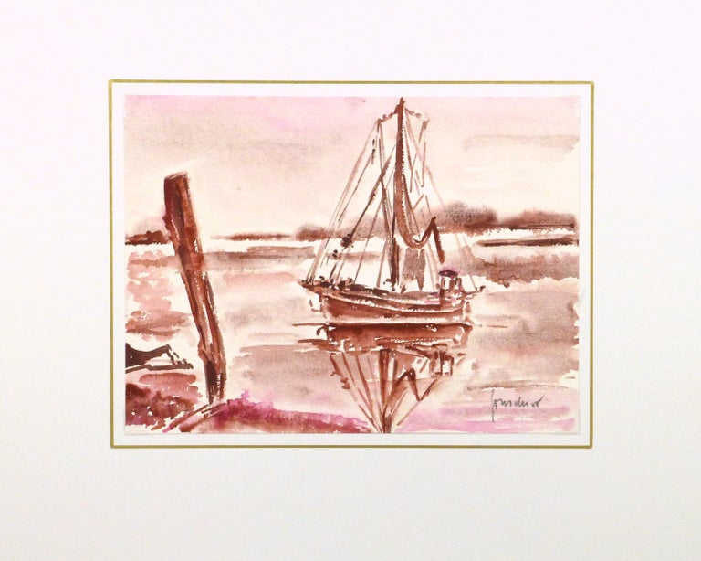 Distinctive French seascape watercolor painting of an anchored sailing vessel in muted shades of crimson, 1982. Signed lower right.   Displayed on a white mat with a gold border and fits a standard-size frame. Archival plastic sleeve and Certificate