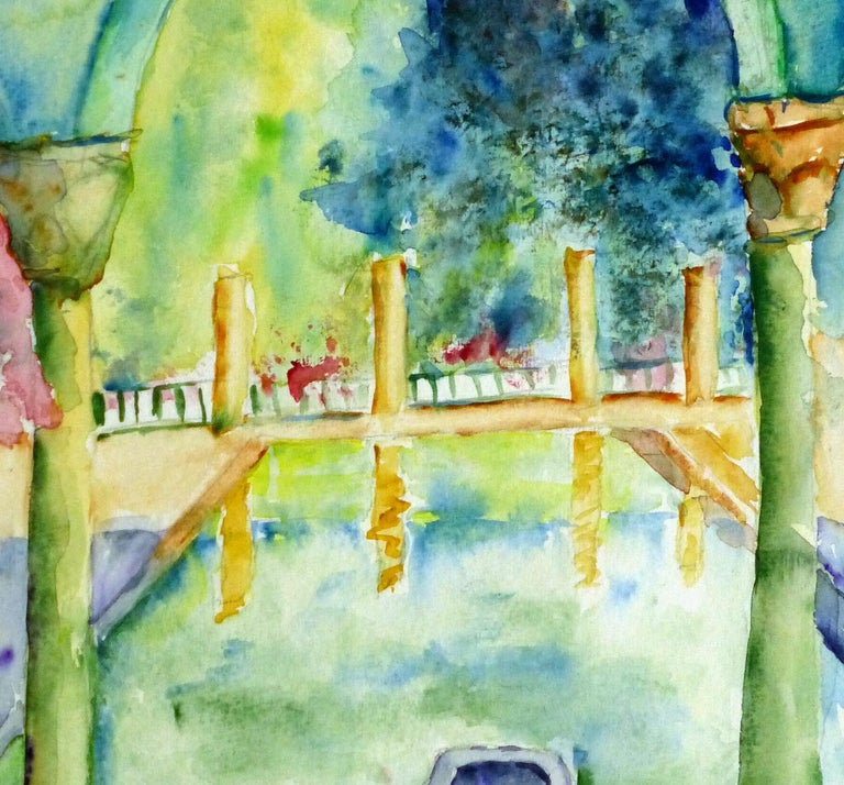 French Watercolor - Italian Villa Pool - Art by Monique Tachdjian