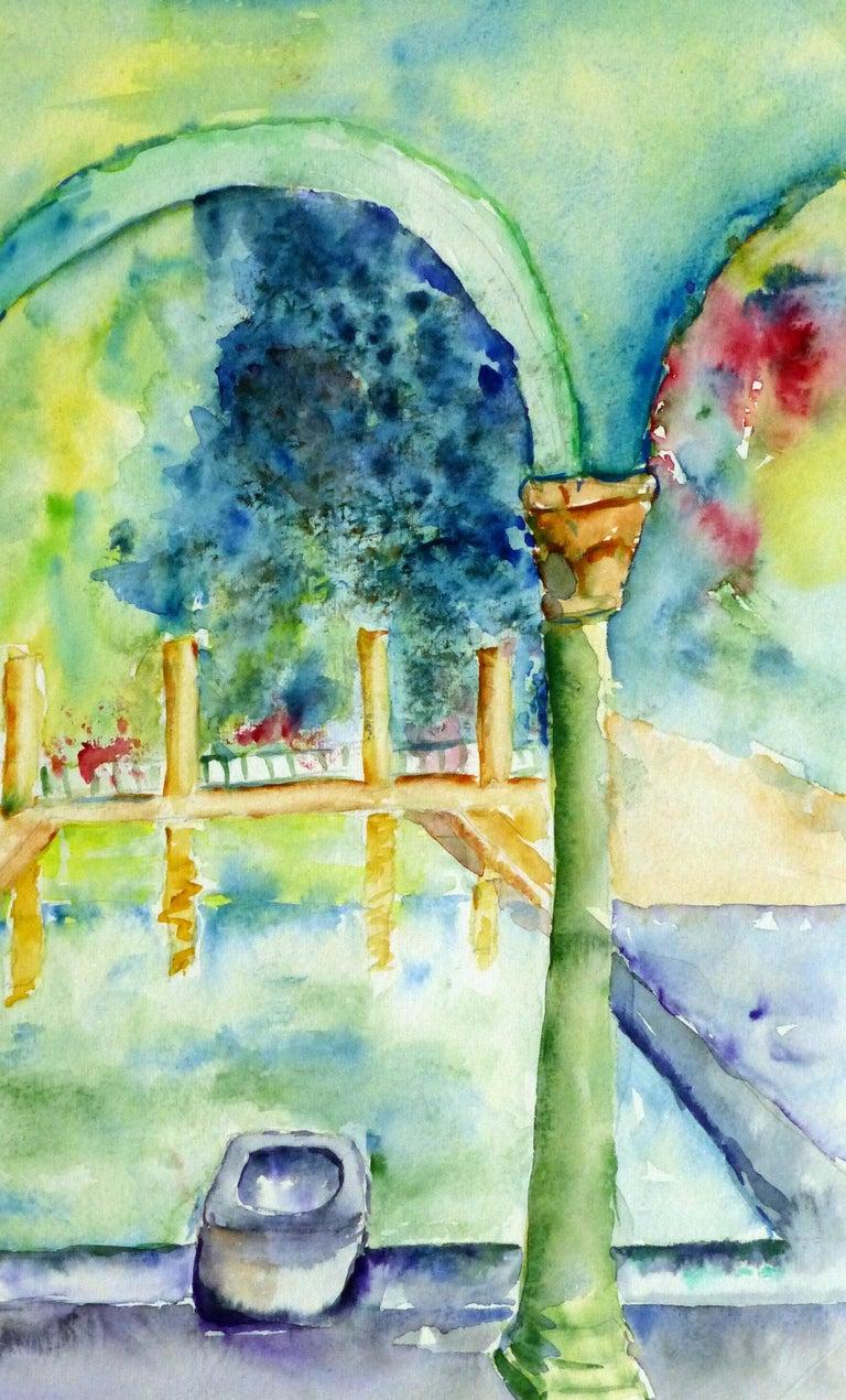 French Watercolor - Italian Villa Pool - Green Landscape Art by Monique Tachdjian
