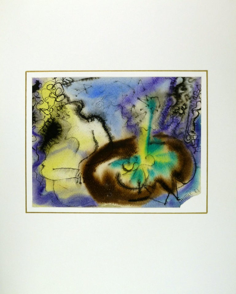 French painting in bright green, blue and yellow tones of someone sitting at a table by artist Jean-Charles Lauthe, 1971. Signed and dated lower right.  Original artwork on paper displayed on a white mat with a gold border. Archival plastic sleeve