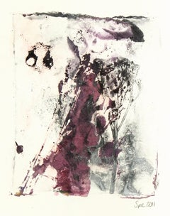 English Purple and Grey-Hued Watercolor Painting - Abstract Leaf Impressions