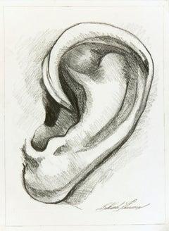 Contemporary Italian Pencil Drawing - Study of an Ear
