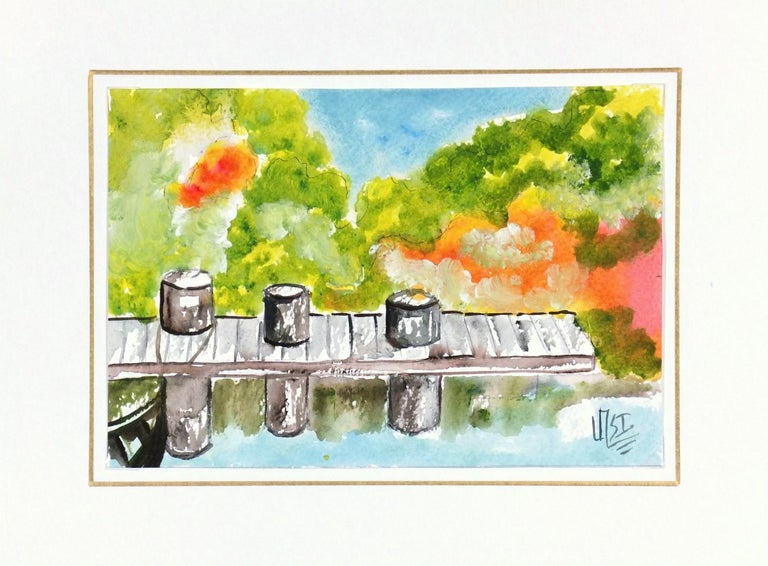 Vibrant Mexican Watercolor Painting - The Boat Dock - Brown Landscape Art by Armando Sanchez