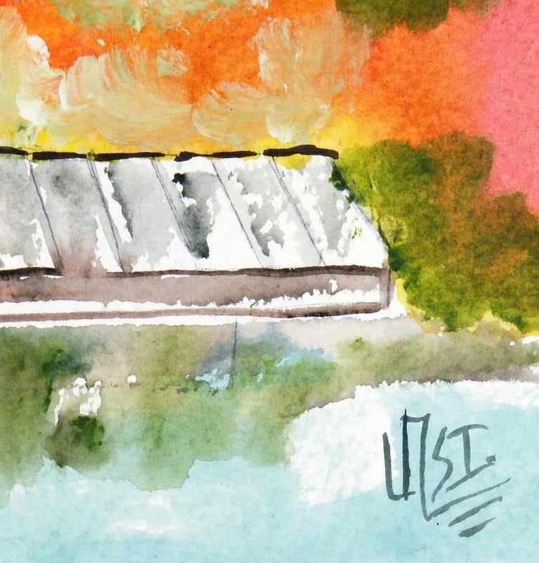 Vibrant Mexican Watercolor Painting - The Boat Dock - Art by Armando Sanchez