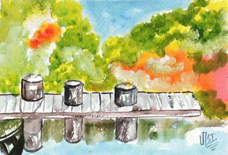 Armando Sanchez Landscape Art - Vibrant Mexican Watercolor Painting - The Boat Dock