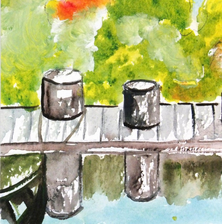 Vibrant Mexican Watercolor Painting - The Boat Dock - Modern Art by Armando Sanchez