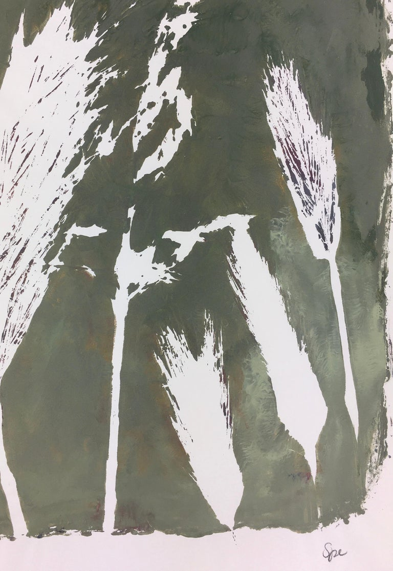English Abstract Painting - Modern Grass - Gray Still-Life Painting by Spe