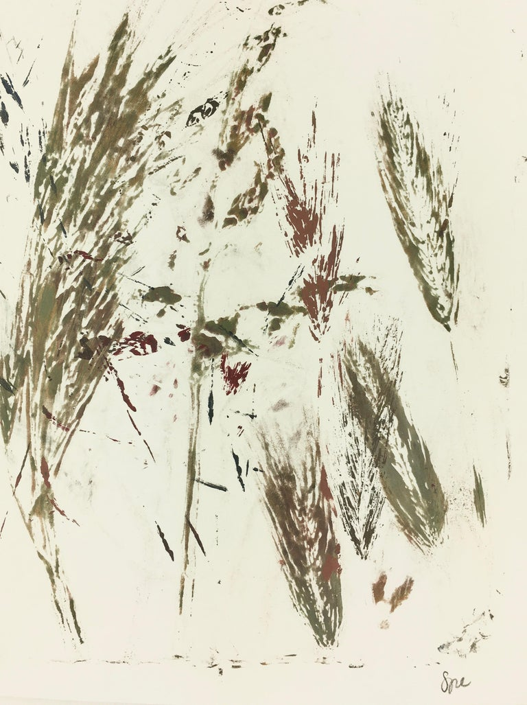 English Abstract Painting - Modern Grass - Beige Still-Life Painting by Spe