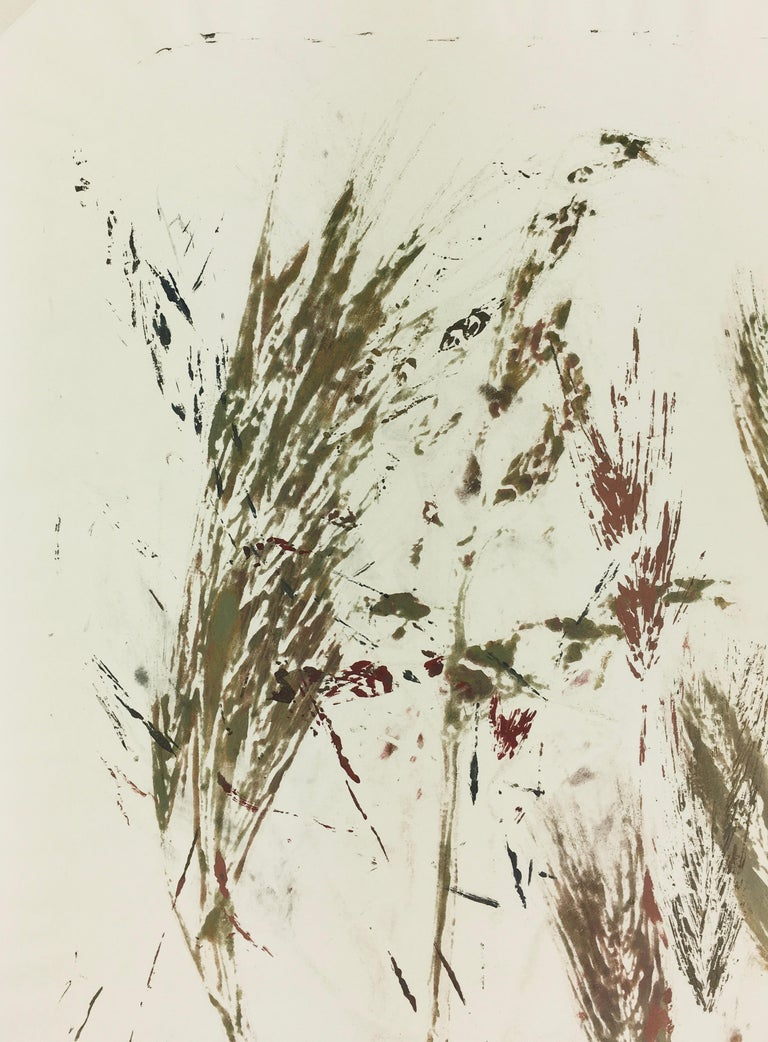 Modern abstract painting of grass and leaves by artist Spe, 2013. Signed lower right.    Original artwork on paper displayed on a white mat with a gold border. Mat fits a standard-size frame.  Archival plastic sleeve and Certificate of Authenticity