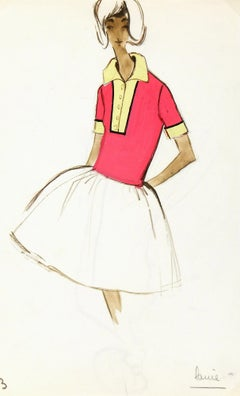 Vintage Balmain French Fashion Sketch - Couture Tennis Dress, c. 1960