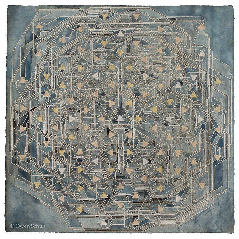 OWEN SCHUH Many Facets (Treespace), 2015 Graphite, watercolor, and tea on paper - Art by OWEN SCHUH