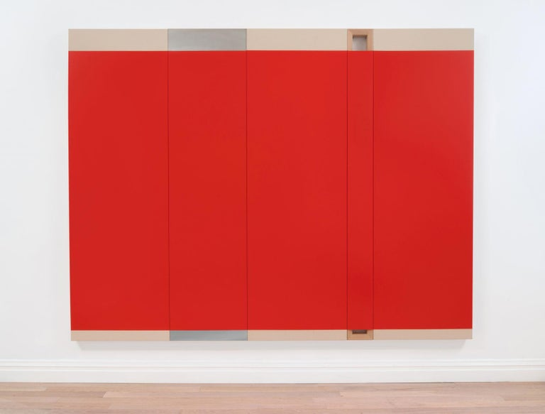 Max Estenger Abstract Painting - MAX ESTENGER Red (five panels), 2017 Oil on canvas, Stainless Steel clear vinyl