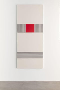 MAX ESTENGER Red ( Seven panels), 2016 oil on Wood; Stainless Steel raw canvas