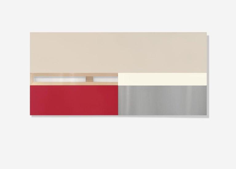 Max Estenger Abstract Painting - OSHA Red & White ( three panels)