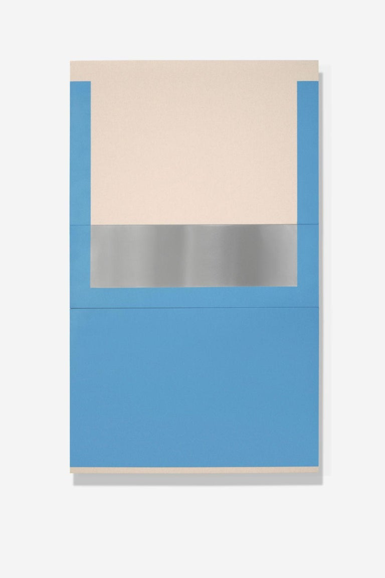 Max Estenger Abstract Painting - Blue (three panels)