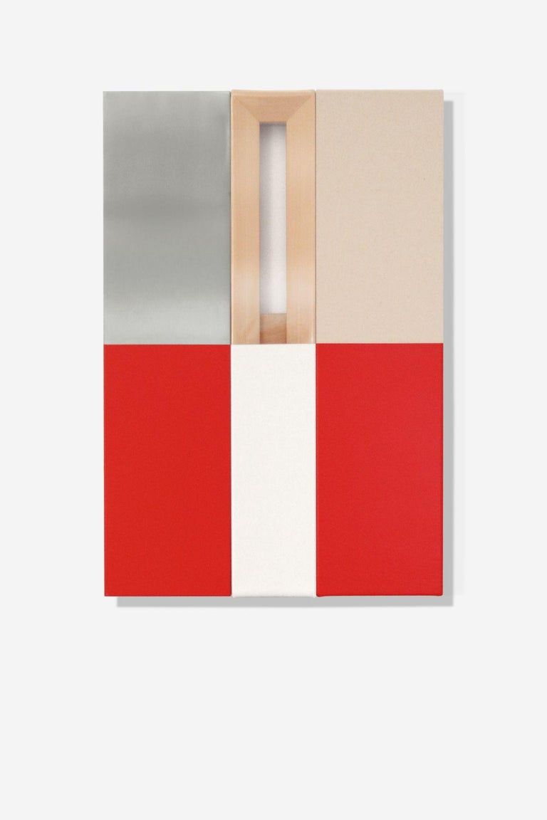 Max Estenger Abstract Painting - Red & White (three panels)