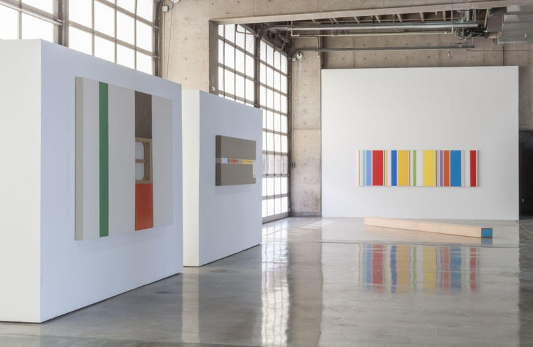 Estenger's mines disparate materials—raw canvas, stainless steel, clear vinyl and wood panels—to create multi-paneled works. Polarities such as hard/soft, opaque/transparent, painted/unpainted, matte/glossy, inside/outside, actual/virtual, etc.