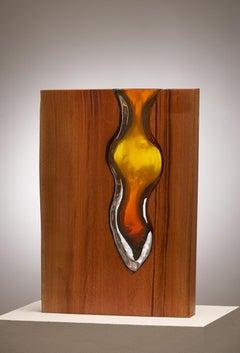 "Hand Blown Topaz Glass with Live Edge Wood ""Vase"" Sculpture, Scott Slagerman"