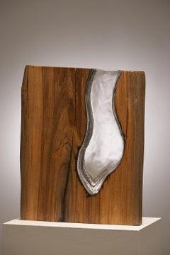 Hand Blown Clear Glass with Live Edge Wood Vase Sculpture, Scott Slagerman