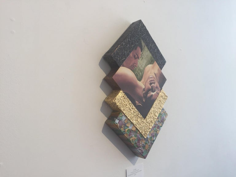 Oil, acrylic polymers, grout, gold leaf, on shaped canvas.