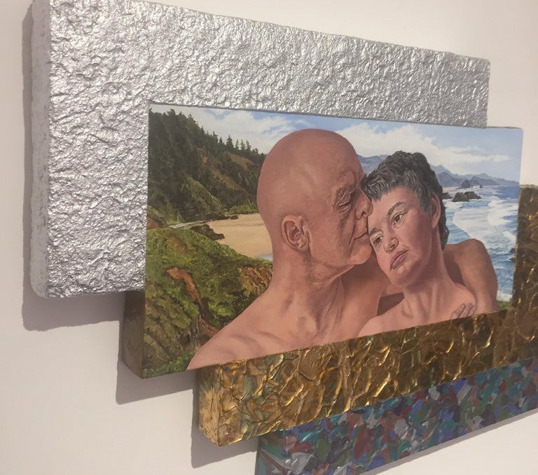 Jack Reilly, Two Perfect Souls in a Perfect Place and Time, Mixed Media,2018 - Gold Figurative Painting by Jack Reilly