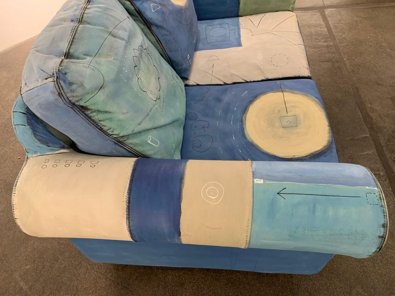 Input and Output, hand painted functional couch / loveseat - Surrealist Sculpture by Airom
