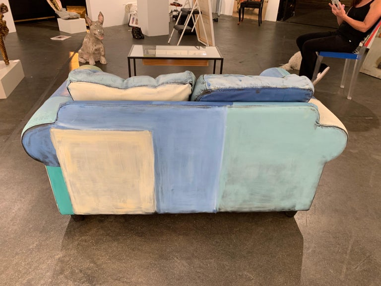 Input and Output, hand painted functional couch / loveseat - Sculpture by Airom
