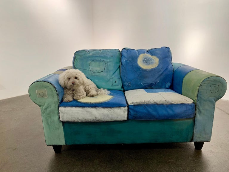 Input and Output, hand painted functional couch / loveseat - Brown Still-Life Sculpture by Airom