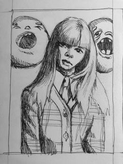 School Girl Donut Sketch